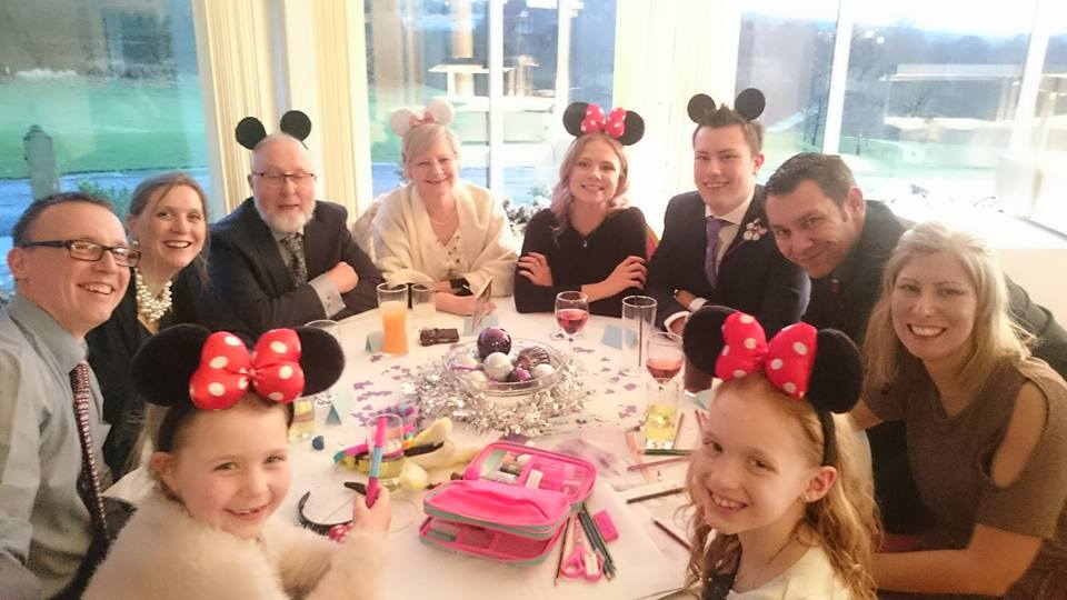 Branches family in Mickey mouse ears for Donna and Peter's wedding