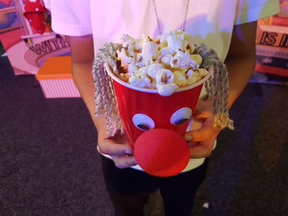 Fantastic clown popcorn bucket