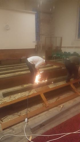 Sparks fly as Howard removes the pews